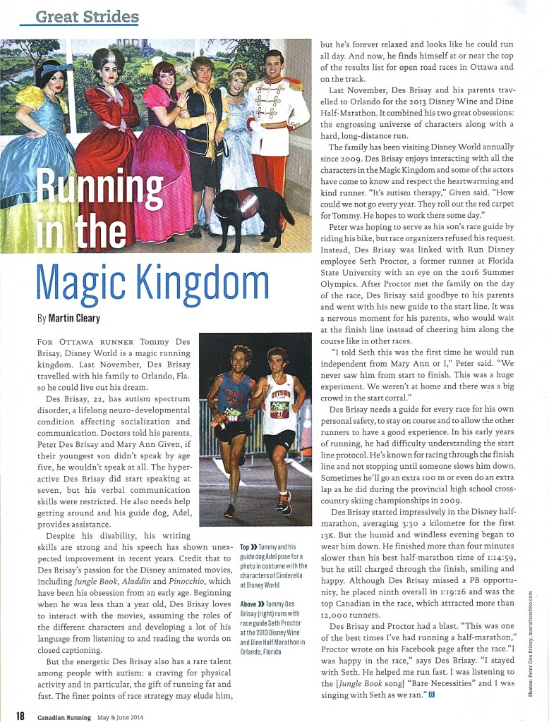Canadian Running Magazine article
